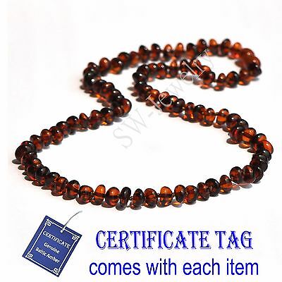 Cognac Genuine Natural Baltic Amber Knotted Adult Necklace Baroque N80089