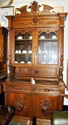 Antique 19Th C. Oak Wooden Solid Cupboard Dinner Room Furniture Hand Carved