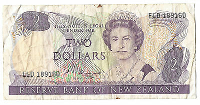 1985 NZ New Zealand old Russell $2 dollar2 paper note QEII