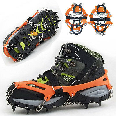 US 12 Teeth Ice Snow Climbing Boot Shoe Covers Spike Crampons Cleats Grippers