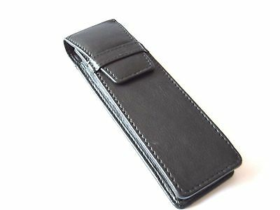 Black Leather Double Pen Case/Pouch/Sleeve/Holder