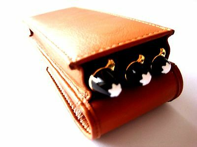 Tan Soft Napa Leather Triple Magnetic Flap Pen Case/Pouch/Sleeve/Holder