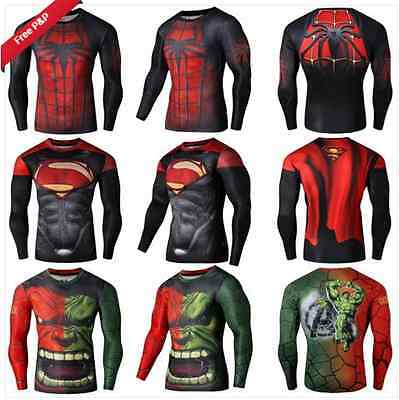 New Fitness Compression Men Superman Bodybuilding Long Sleeve Marvel Rash Guard