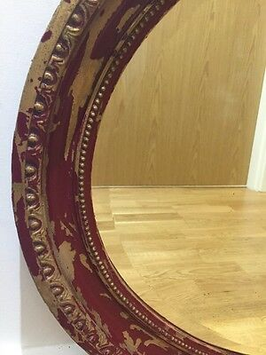 Genuine Large Shabby Chic Antique Gilt/Red Oval Wall/Overmantle Mirror Beveled
