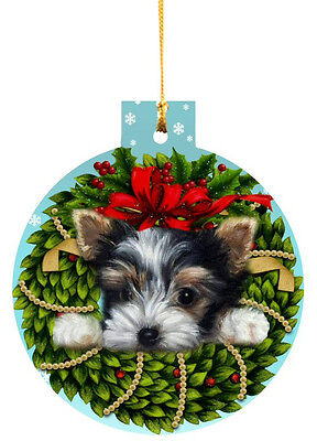BIEWER Terrier ORNAMENT CHRISTMAS TREE painting Dog PUPPY ART WREATH FREE