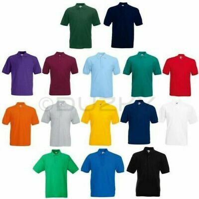 Fruit of the Loom Polo Shirt Plain Short Sleeve Men's Polo T Shirt S - XXXL