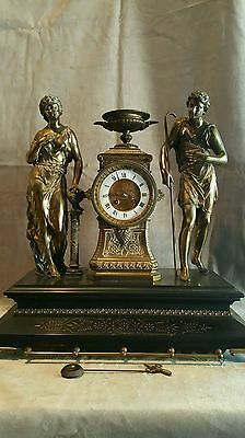 "Antique Ansonia?  Open Escapement Mantle Clock W/ 2 Figures 21"" Tall"