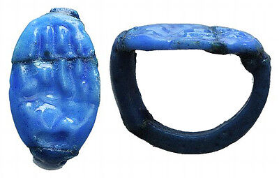 Egyptian blue ring with hieroglyphs