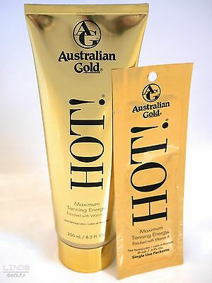 Australian Gold HOT - Maximum Energy Tanning Lotion Sunbed Tan Cream 250ml 15ml