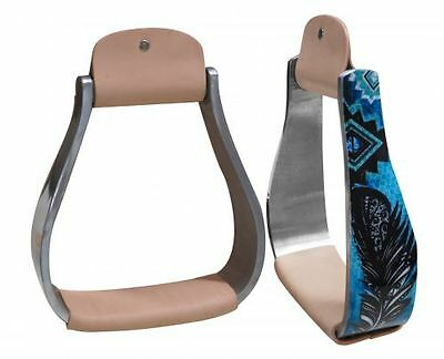 "Showman Holographic Feather Print Horse Saddle Stirrups 5.5"" Wide"