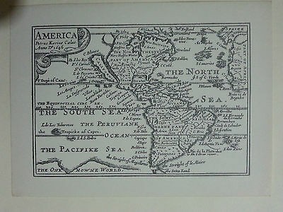 RARE - Miniature John Speed Map of America. REPRODUCTION c.Early 20th Century
