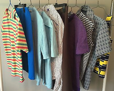 Lot Of 10 Vtg Authentic 60's/70's Ready To Wear Tops Shirts Blouses Skirts #61