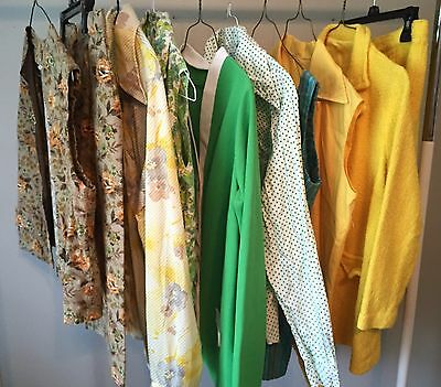 Lot Of 10 Vtg Authentic 60's/70's Ready To Wear Tops Shirts Skirt Sets #55