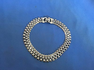 Stunning Vintage Estate Find Small Square Spikey All Metal Silvertone Necklace