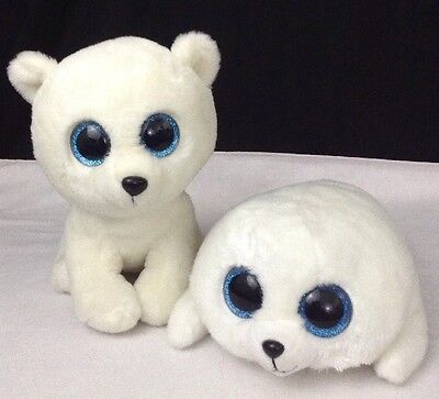 """TY Classic Boo's Plush LOT Lg 10"""" ARCTIC the Polar Bear & 12"""" ICY the White Seal"""