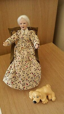 Dollhouse miniature Granny sat in Brass Rocking Chair+ Dog