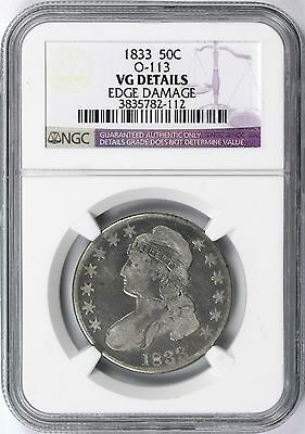 1833 Capped Bust Silver 50c Half Dollar NGC VG Details O-113