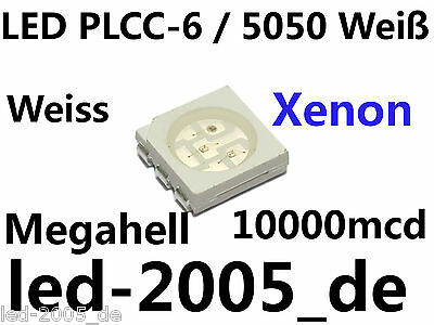30 x SMD LED PLCC-6 Weiß 10000mcd,SMD LED 5050 White,SMD LED PLCC6 Blanches,