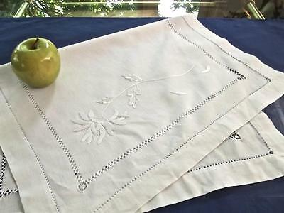 Antique White Linen 17x26 Runner Hand Embroidered Mums Hemstitched LG Tray-Cloth