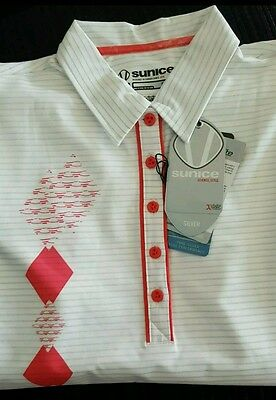Sunice Womens White Polo Shirt Size 14 ( Large ) Bnwt