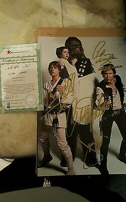 Carrie fisher harrison ford hamill mayhew signed 12x8 photo with COA star wars