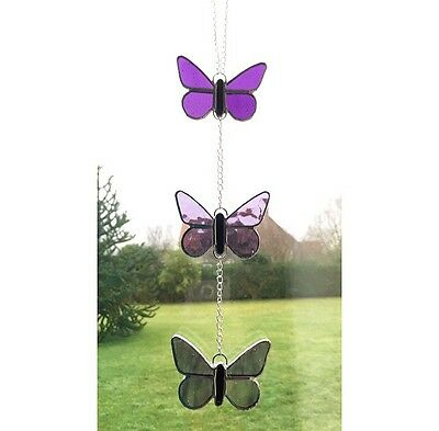Handmade Stained Glass, Purple Butterfly Suncatcher Glass Gift