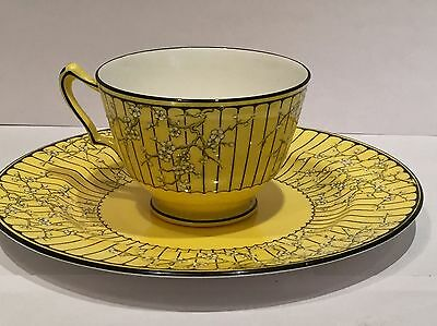 Art Deco Crown Staffordshire Cup & Saucer Yellow Blossom Collectable