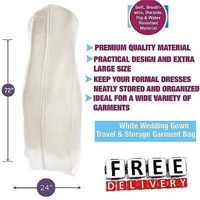 White Weddiing Gown Travel Storage Garment Bag Breathable Water Resistant Large