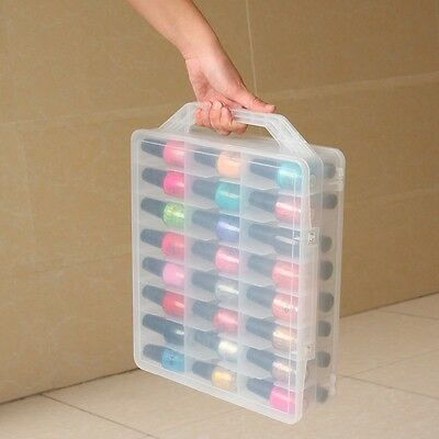 Nail polish carrying case 48 bottles, nail varnish storage box pink or clear