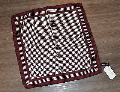 Tom Ford Maroon Pocket Square Pochette NWT 100% Silk Houndstooth WOW! $200+