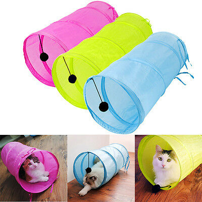 collapsible cat play tunnel pet toy 3 colours with ball