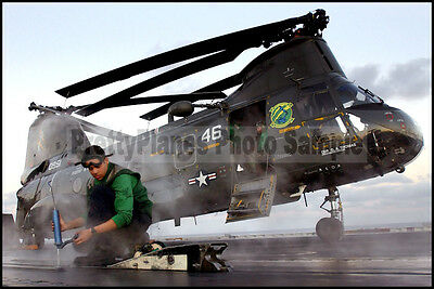 USN H-46 Sea Knight HC-11 USS John C Stennis CVN-74 2003 8x12 Photo
