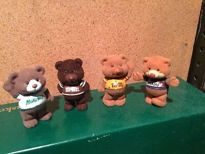 Set of 4 1987 Mars Candy Bar bears, Snickers M & M Milky Way Flocked bears