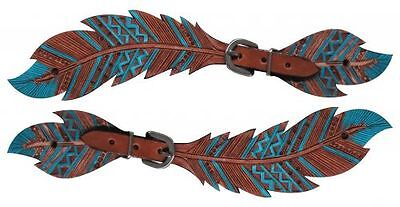 Showman Medium Oil Painted Teal Feather  Cut Out Ladies spur Straps New