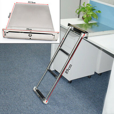 Great Stainless Steel 3 Step Concealed Box Telescopic Ladder For Boat Marine