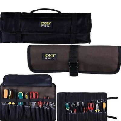 Hardware Tools Roll Plier Screwdriver Spanner Carry Case Pouch Bag 10 Pockets