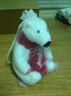 Brand New Limited 5 Inch coca cola bear With Clear Drawstring Pouch