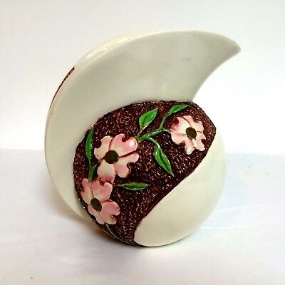 Art Deco Pottery Pitcher Great Form and flower decorated