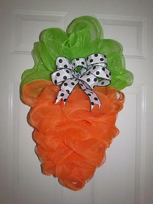 """Easter Carrot Deco Mesh Wreath with Bow 27"""" x  20"""""""