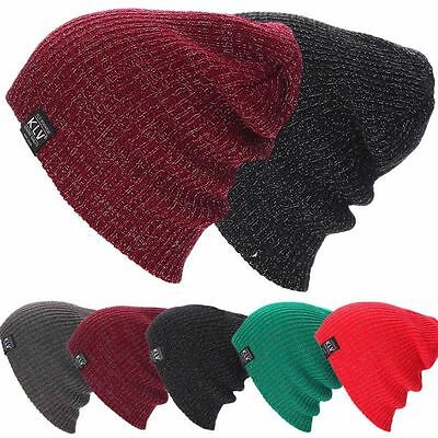 Men Women Knit Baggy Beanie Winter Hat Ski Slouchy Chic Knitted Unisex Cap Skull