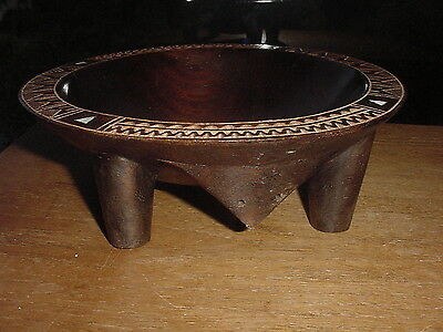Beautiful Carved And Shell Inlaid South Pacific Hardwood Kava Bowl