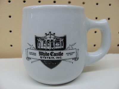 Small White Castle Restaurant Coffee Cup Mug w/ Ashtray Bottom