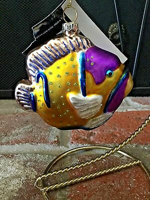 New W/tags Robert Stanley Home Collection Glass Tropical Fish Xmas Ornament