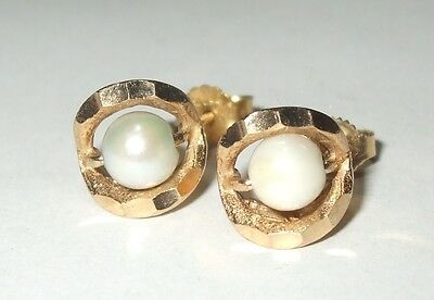 Vintage 10K 14K Yellow Gold Twist Hammered Knot 4MM Pearl Stud Post Earrings