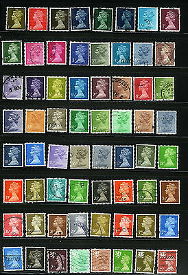 Great Britain Machins 64 different stamps incl. WMMH-60 SMH-22 ets. ( Machin L5)