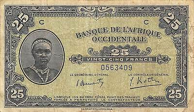 French West Africa  25 Francs 14.12.1942 Series C  circulated Banknote 5D