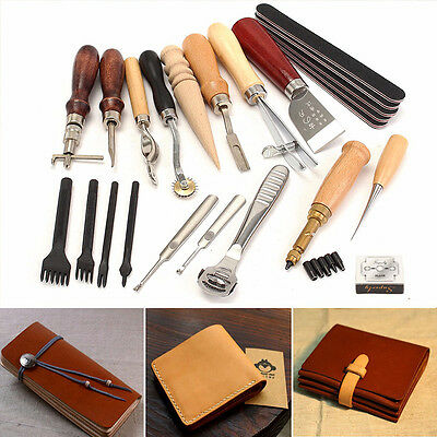 20pcs Leather Craft Stitching Carving Working Sewing Punch Tools Saddle Groover