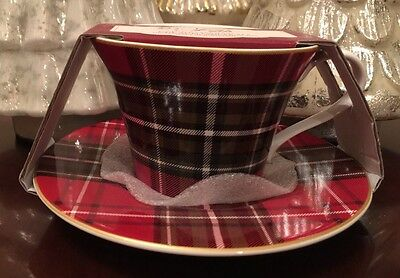 222 Fifth Wexford Red Plaid Tea Cup & Saucer Set