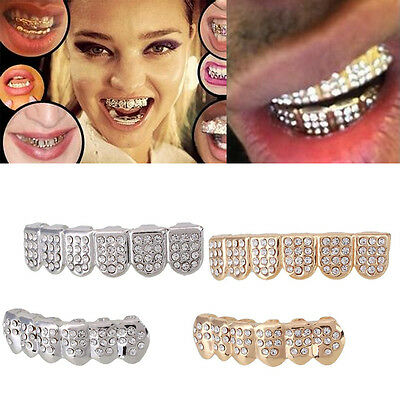 Hip Hop Gold Plated Rhinestones Mouth Teeth Grill Grillz Halloween Party Gift