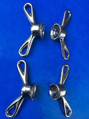 VINTAGE NEW OLD STOCK GRIPFAST 'No.2' RACING CHROME WING NUTS,COMPLETE SET OF 4